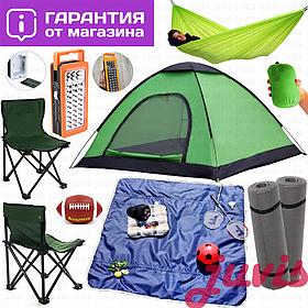 Палатка намет летняя,универсальная,двухместная,двух местная-3х трехместная кемпинговая зеленая,аналог bestway