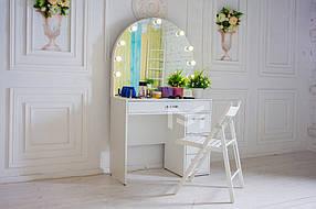 Стол для макияжа М627 с полукруглым зеркалом и подсветкой, ДСП Белое ручки Эстет (Markson TM)