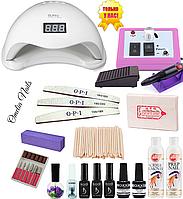 Стартовый набор для покрытия ногтей гель лаком Kodi, UV LED лампа Sun 5, фрезер Lina Mercedes