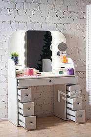 Туалетный столик М628 с подсветкой ДСП Белое ручки круглые (Markson TM)