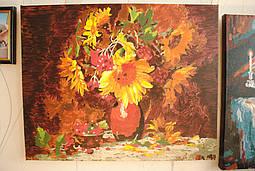 Картина по цифрам на холсте Калина в подсолнухах цветовая гамма красок конечно отличается от оригинала, но картину это совершенно не портит.