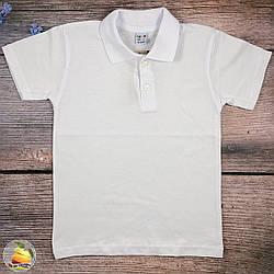 Белое поло короткий рукав для мальчика подростка Размеры: 10,11,12,13 лет (20496-2)