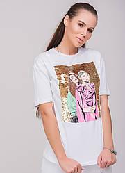 Женская футболка с пайетками белая, р.S,М,L