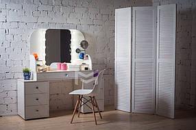 Туалетный столик М628-2 с подсветкой ДСП Белое ручки круглые (Markson TM)