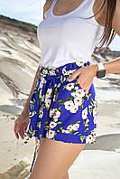 Льняные летние яркие женские высокие шорты с цветами (1338.4164-4165-4163-4217 svt) Синий с белыми цветами