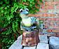 Лягушка лежаячая на пне 34,5 см керамика - садовый декор, фото 3