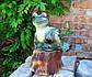 Лягушка лежаячая на пне 34,5 см керамика - садовый декор, фото 4