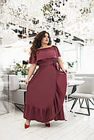 Нарядное летнее платье длинное открытый верх на резинке на полных женщин бордовое, р.48-54 универсальный