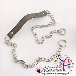 Ручка для сумки с цепочкой и кольцами-карабинами 110 см, металлик