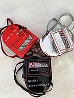Рюкзак женский,эко-кожа,красный/чёрный/серый