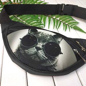 Сумка бананка TWIX чёрная Кот в очках