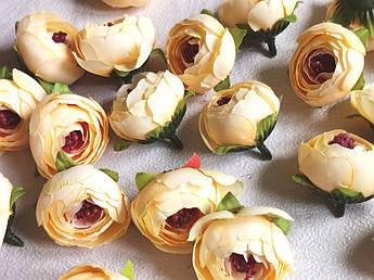 Искусственные цветы. Головка ранункулюса, кремовая, 4 см