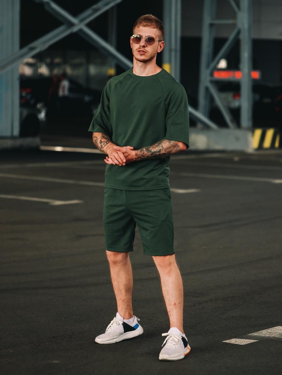Мужской летний комплект OverSize Khaki (шорты и футболка), летний костюм оверсайз