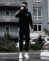 Спортивный костюм мужской с лампасами Adidas черный осенний | весенний