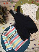 Летний комплект 3-6 мес, комбинезон джинсовый для мальчика, боди детские, яркий детский реглан, футболка дети