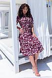 Летнее платье трапеция ниже колена батал, разные цвета р.50,52,54,56 код 5182/1А, фото 2