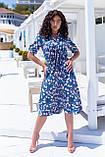 Летнее платье трапеция ниже колена батал, разные цвета р.50,52,54,56 код 5182/1А, фото 5