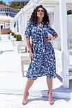 Летнее платье трапеция ниже колена батал, разные цвета р.50,52,54,56 код 5182/1А, фото 6