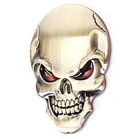 Шильд значек эмблема украшение шильдик для электрогитары автомобиля авто череп золотистый