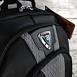 Плотный водоотталкивающий мужской черный рюкзак с ортопедической спинкой повседневный, для ноутбука, фото 9