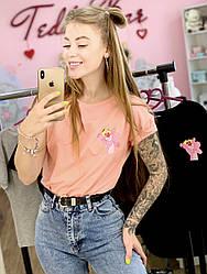 Женская футболка хлопок розовая с принтом Pink panther розовая пантера