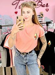 Женская футболка хлопок розовая с принтом Avocado авокадо