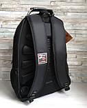 Плотный водоотталкивающий мужской черный рюкзак с ортопедической спинкой повседневный, для ноутбука, фото 3