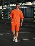 Мужской оранжевый летний комплект OverSize (шорты и футболка), летний костюм оверсайз, фото 6
