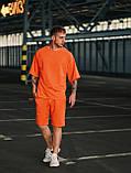Мужской оранжевый летний комплект OverSize (шорты и футболка), летний костюм оверсайз, фото 4