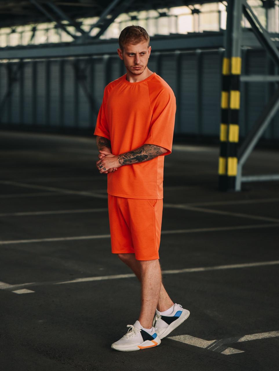 Мужской оранжевый летний комплект OverSize (шорты и футболка), летний костюм оверсайз