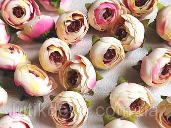 Искусственные цветы. Головка ранункулюса, бело-розовая, 4 см