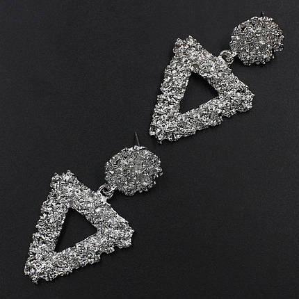Женские серьги 55х30 мм в стиле Zara серебристые, фото 2