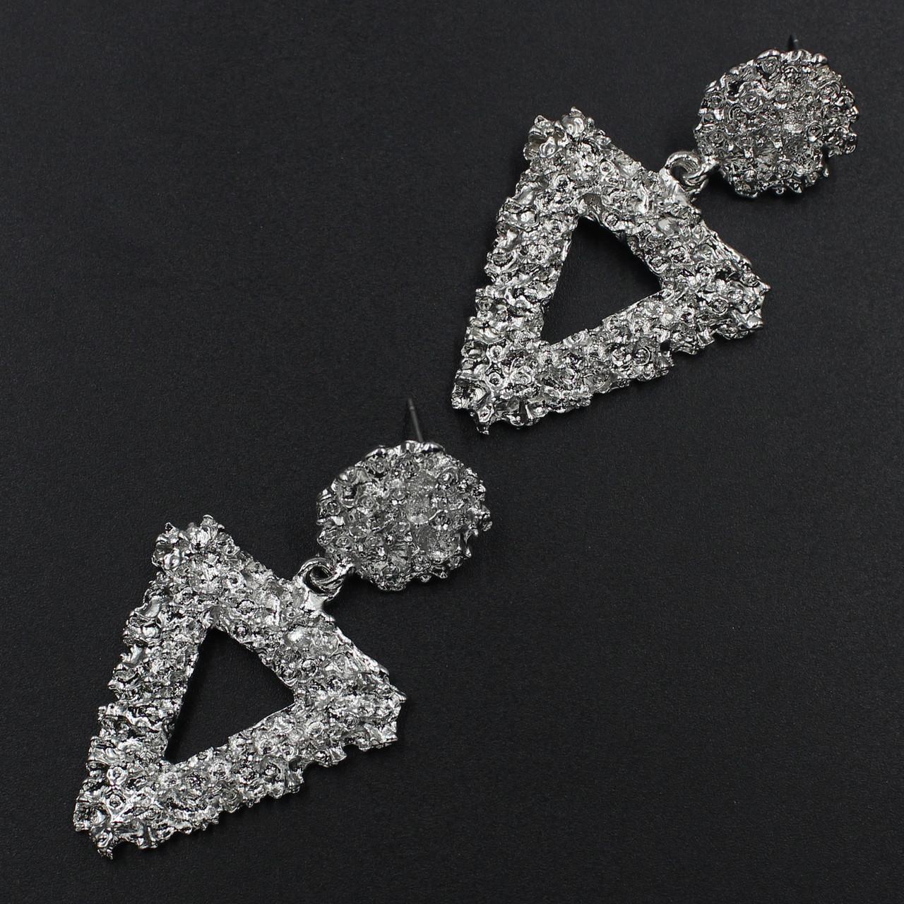 Женские серьги 55х30 мм в стиле Zara серебристые
