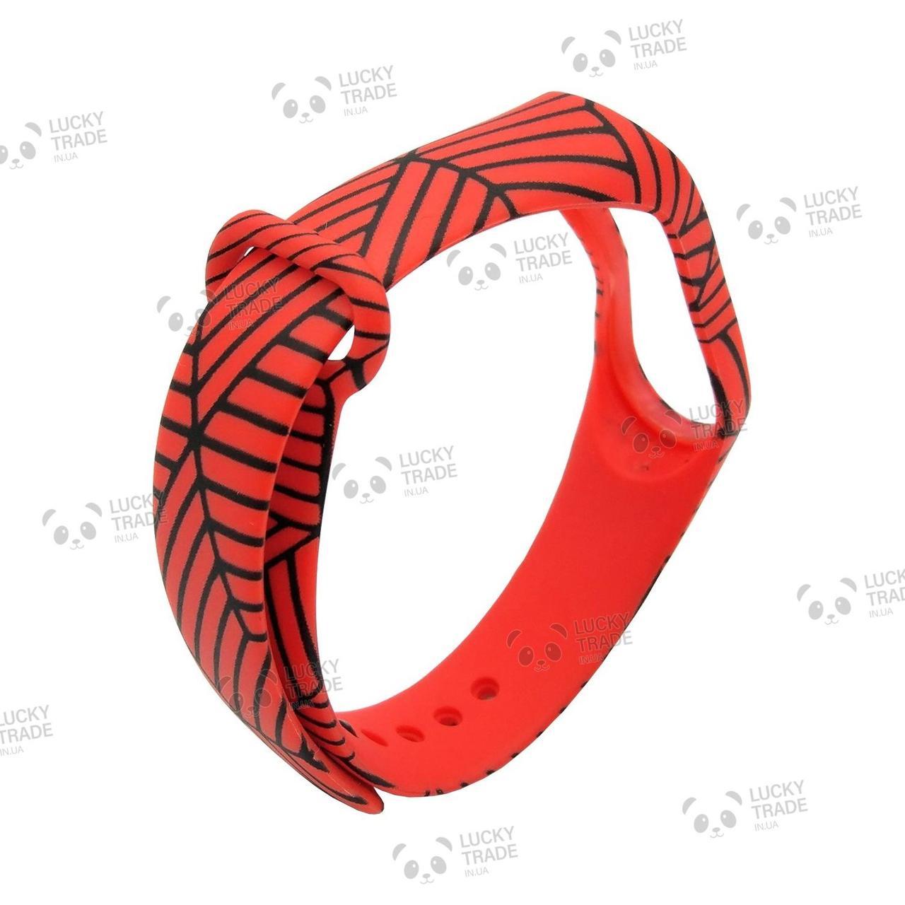 Ремешок Xiaomi Mi Band 4 / 3 с рисунком силиконовый браслет Решетка - Красный [2099]