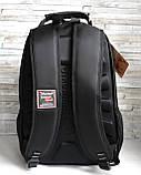 Прочный мужской черный рюкзак с ортопедической спинкой городской, для ноутбука 15,6-17 дюймов, фото 6