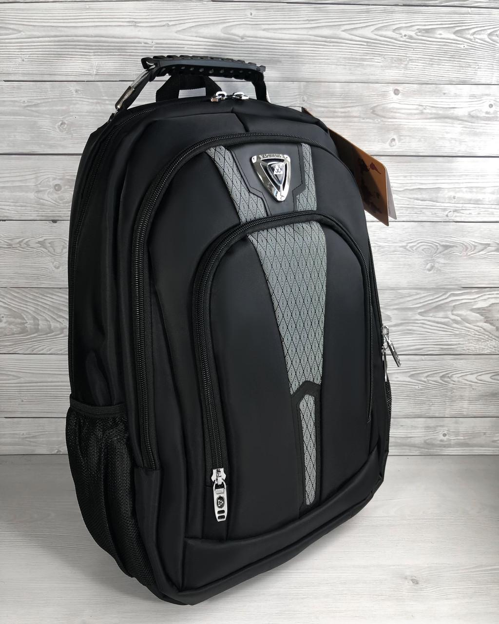 Прочный мужской черный рюкзак с ортопедической спинкой городской, для ноутбука 15,6-17 дюймов