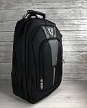 Прочный мужской черный рюкзак с ортопедической спинкой городской, для ноутбука 15,6-17 дюймов, фото 3