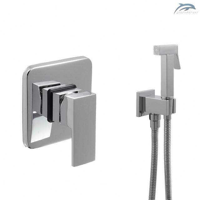 Комплект гигиенического душа для скрытого монтажа SGD-02 с квадратным дизайном составных элементов.