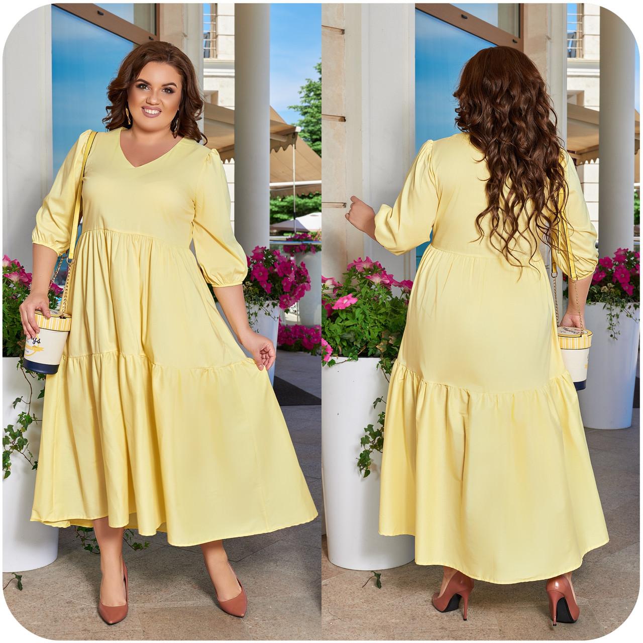 Лёгкое воздушное платье в романтичном стиле из натурального коттона желтое