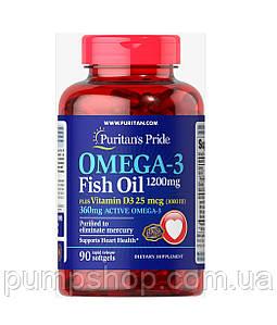 Жирні кислоти омега-3+D3 Puritan's Pride Omega 3 Fish Oil 1200 мг plus Vitamin D3 25 mcg 90 капс.