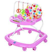 Ходунки прыгунки каталка M 0591A  Первые шаги  для девочки от 6 месяцев цвет розовый