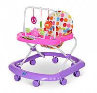 Ходунки прыгунки каталка M 0591A  Первые шаги  для девочки от 6 месяцев цвет фиолетовый