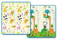 Детский коврик Зоопарк - ростомер складной развивающий коврик 2м х 1,8м толщина 10 мм