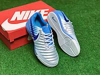 Футзалки Nike Legend X VII/ бампы найк темпо/футбольная обувь бело-голубые