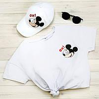 """Комплект Белый Кепка+ футболка """"Микки"""", фото 1"""