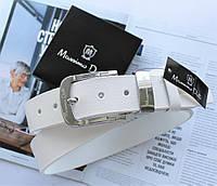 Мужской кожаный ремень Massimo Dutti белый, фото 1