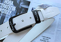 Мужской кожаный ремень с черной пряжкой Massimo Dutti белый, фото 1