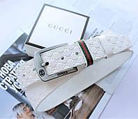 Белый кожаный ремень с тиснением Gucci белый, фото 1