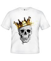 """Прикольная белая мужская футболка с принтом """" Череп Корона"""""""