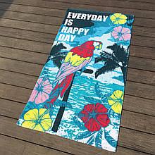 Пляжное полотенце махровое, летнее покрывало, подстилка, коврик с рисунком птица